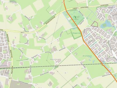 Buurtschap Meerenbroek ligt tussen de kernen Wehl in het W en Doetinchem in het O, en grenst in het Z aan de Doetinchemseweg en in het O aan de Wehlse Beek. (© www.openstreetmap.org)