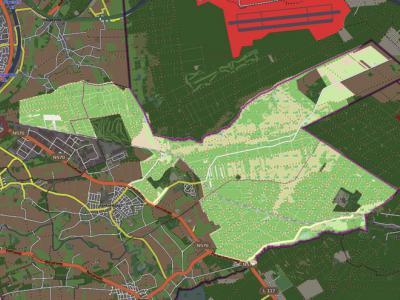 Kaart van Nationaal Park De Meinweg (= het overwegend lichtgroene gedeelte) (gemaakt door OpenStreetMap contributors/www.openstreetmap.org)