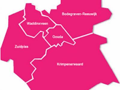 Dit is de Regio Midden-Holland van de vijf gemeenten die onder die naam samenwerken. Maar deze regio is niet hard afgebakend; andere regionale instellingen met de naam Midden-Holland kunnen een groter of kleiner gebied bestrijken. (© www.zogmh.nl)