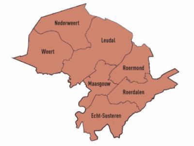 De begrenzing van regio's is vaak niet 'hard'. De intergemeentelijke 'netwerkorganisatie' Samenwerking Midden-Limburg (SML) bijv., omvat de gemeenten Echt-Susteren, Leudal, Maasgouw, Nederweert, Roerdalen, Roermond en Weert. (© www.meedemeentgroep.nl)