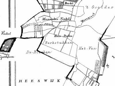 Op de Kuijperkaart uit 1865 kun je goed zien welk deel van Vinkel, het zogeheten Heesch' Vinkel of Munnekens-Vinkel, oorspronkelijk onder Heesch viel en deels nog altijd valt. In het ZW zie je een 'enclave', met Nulands gebied er nog tussen.