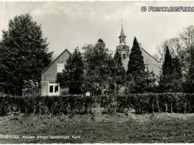Okkenbroek, 'Rustiek plekje achterzijde kerk', ansichtkaart uit ca. 1970
