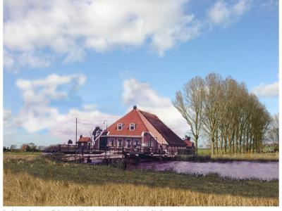 In Oldelamer heeft een rolbrug over de Helomavaart gelegen, met bijbehorende brugwachterswoning. Helaas zijn beide afgebroken. Inwoner 'Hank Dussen' heeft beide gemonteerd in een foto van de huidige situatie. Zo hád het er hier dus uit kunnen zien...