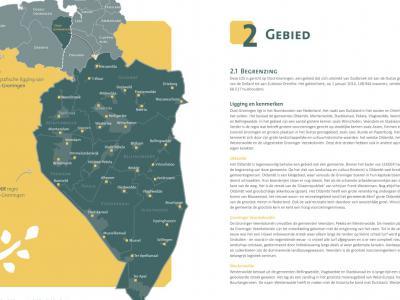 In de Lokale Ontwikkelingsstrategie (LOS) Oost-Groningen 2014-2020 vinden we een mooie verduidelijkende kaart van deze regio en een tekstuele toelichting op de regio en de verdeling in de drie subregio's. (© www.leaderoostgroningen.nl)