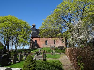 Kerk en kerkhof van Oosternieland in de voorjaarszon, april 2018. (© Harry Perton / https://groninganus.wordpress.com)