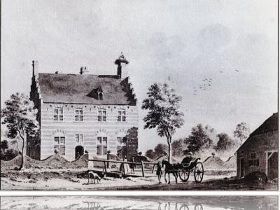 Het kasteel te Opwetten, zoals dat er vroeger heeft uitgezien. Het in de loop der tijd vervallen geraakte kasteel is rond 1825 verdwenen.