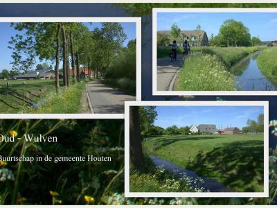 Collage van de nog altijd landelijk gelegen buurtschap Oud-Wulven, net buiten het zeer verstedelijkte en sterk gegroeide Houten (© Jan Dijkstra, Houten)