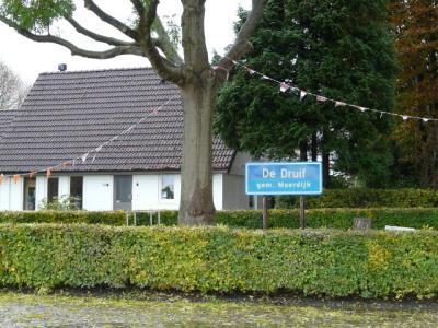 Niet-officieel plaatsnaambord van buurtschap De Druif dat een bebouwde-kombord lijkt, maar het niet is, in een perkje naast de weg (© H.W. Fluks)