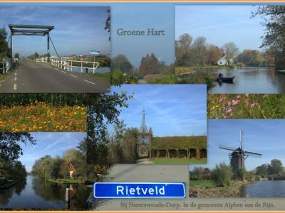De buurtschap Rietveld onder het dorp Hazerswoude-Dorp, collage buurtschapsgezichten (© Jan Dijkstra, Houten). De buurtschap is zeer waterrijk en er lopen vele smalle paadjes doorheen. Logisch dus dat een van de uitspanningen alhier Klein Giethoorn heet.