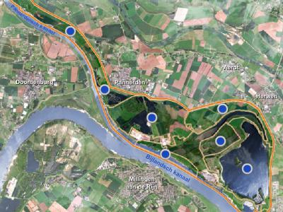 Rijnwaarden, de Rijnwaardense Uiterwaarden, een landelijk en waterrijk gebied tussen Lobith in het ZO en Loo in het NW, wordt de komende jaren heringericht in het kader van hoogwaterveiligheid en natuurontwikkeling. (© www.rijnwaardenseuiterwaarden.nl)