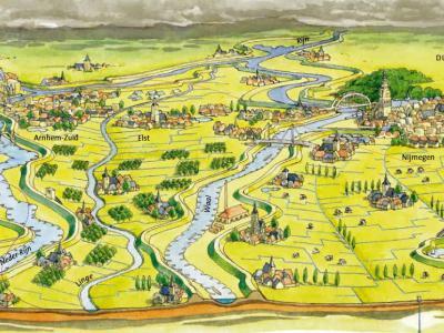 Waterschap Rivierenland laat met deze kaart mooi zien hoe de rivieren in dit gebied door het landschap lopen. Van N naar Z zijn dat de Nederrijn, de Linge, de Waal en de Maas. (© www.waterschaprivierenland.nl)