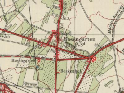 Buurtschap Rosengarten, gelegen Z van het dorp Einighausen, is eind jaren vijftig van de 20e eeuw ontstaan NO van - en genoemd naar - de gelijknamige hoeve die in 2011 is afgebroken (© Kadaster)