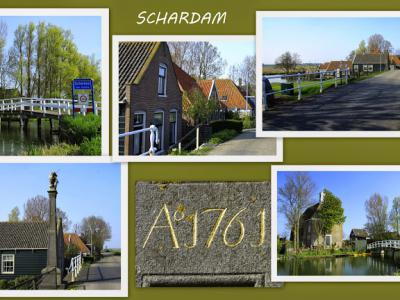Schardam, collage van dorpsgezichten (© Jan Dijkstra, Houten)