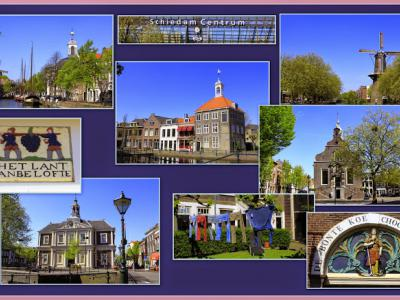 Schiedam, collage van stadsgezichten (© Jan Dijkstra, Houten)