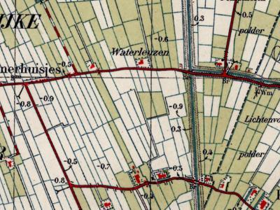 Op deze kaart uit ca. 1940 is goed te zien dat de buurtschap Sint Annerhuisjes drie naast elkaar gelegen huizengroepjes omvat. Tegenwoordig zijn de linker twee gekrompen tot ieder drie panden, het rechter omvat nog zes panden. (© Kadaster)