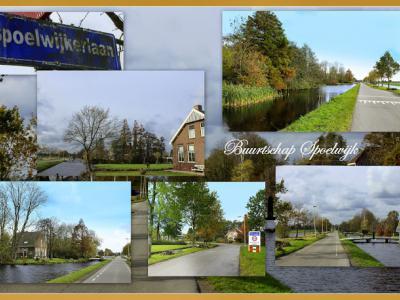 Spoelwijk, collage van buurtschapsgezichten (© Jan Dijkstra, Houten). Helaas heeft de buurtschap geen plaatsnaambordjes, zodat je slechts aan de straatnamen Spoelwijkerlaan en Spoelwijkschedijk kunt zien dat je er bent aanbeland.
