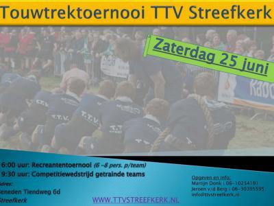 Op een zaterdag eind juni is er het Touwtrektoernooi in Streefkerk, zowel voor recreanten als voor getrainde teams.
