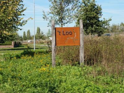 Buurtschap 't Loo bij Uden is voorzien van fraaie plaatsnaamborden van zogeheten cortenstaal. Weet iemand wanneer en waarom deze borden geplaatst zijn? Er was vast een bepaalde concrete aanleiding voor. (© H.W. Fluks)