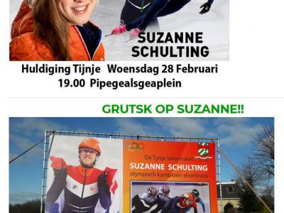 9 van de 10 Nederlanders zullen nog nooit van Tijnje hebben gehoord. In februari 2018 was dat even omgekeerd; toen is de in Tijnje opgegroeide Suzanne Schulting nl. Olympisch Kampioen Shorttrack geworden. Uiteraard heeft het dorp haar daarvoor gehuldigd.