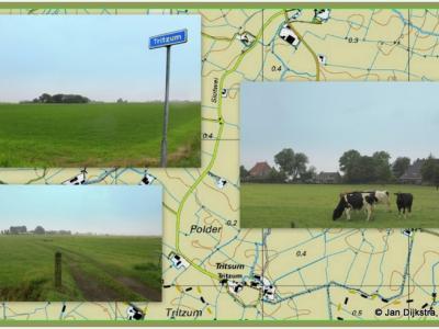 Tritzum is, gelegen aan het eind van een twee km lang doodlopend weggetje, wellicht de afgelegenste buurtschap van Fryslân, misschien zelfs van heel Nederland. Op deze fraaie collage van Jan Dijkstra uit Houten is dat goed te zien.