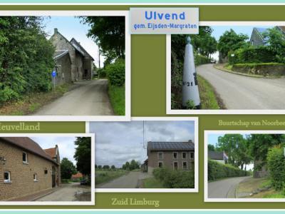 Ulvend, collage van buurtschapsgezichten (© Jan Dijkstra, Houten). De buurtschap Ulvend ligt deels in Nederland, deels in België. De landsgrens loopt er door het midden van de weg.