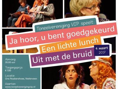 Toneelvereniging VIP uit Veelerveen speelt jaarlijks begin maart een voorstelling in dorpshuis Ons Noabershoes.