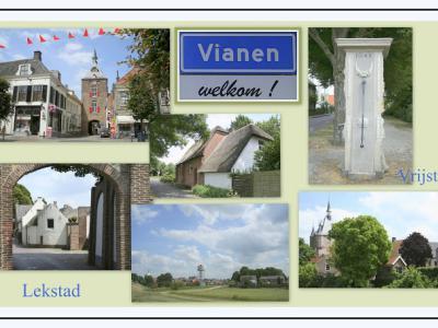 Vianen is een stad in de provincie Utrecht (t/m 2001 provincie Zuid-Holland), in de streek en gemeente Vijfheerenlanden. Het was een zelfstandige gemeente t/m 2018. (© Jan Dijkstra, Houten)