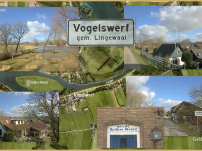 Compilatie van de fraaie panden en het idyllische landschap in de buurtschap Vogelswerf. © Jan Dijkstra, Houten, die de plaatsnaam ook gelijk maar heeft ingetekend op de kaart, omdat het Kadaster en Google Maps dat tot heden verzuimen...