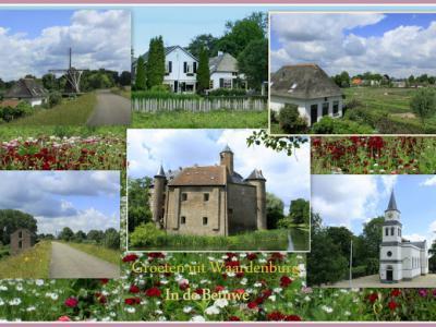 Groeten uit Waardenburg, collage van dorpsgezichten anno 2016 (© Jan Dijkstra, Houten)