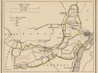 Gemeente Wadenoijen anno ca. 1870, kaart J. Kuijper (collectie www.atlasenkaart.nl)