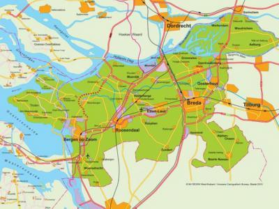 Het samenwerkingsverband Regio West-Brabant omvat de 17 gemeenten die op deze kaart groen geaccentueerd zijn (voor de drie gemeenten rechtsbovenin lees gemeente Altena, die in 2019 is ontstaan). Zie verder het hoofdstuk Links. (© Regio West-Brabant)