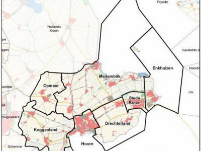 De bestuurlijke regio West-Friesland omvat anno 2017 nog 7 gemeenten; Drechterland, Enkhuizen, Hoorn, Koggenland, Medemblik, Opmeer en Stede Broec. Op deze kaart wordt de ligging van deze gemeenten in de regio duidelijk aangegeven. (©www.noord-holland.nl)
