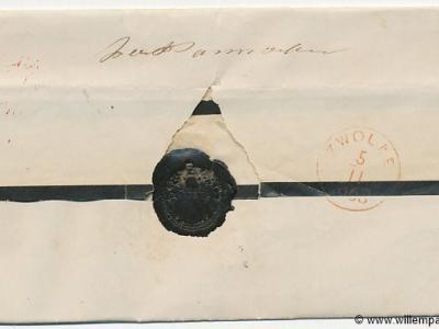 West-Pannerden, vouwbrief (enveloppen waren er toen nog niet, dus werden brieven dichtgevouwen, en soms nog extra met lakzegel afgesloten, zoals hier) naar Zwolle, 4-11-1863, met handgeschreven aanduiding Westpannerden door het bestelhuis.