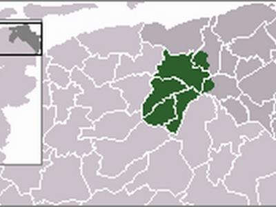 De streek Westerkwartier op de kaart van Groningen ingetekend. Vanuit het Z met de klok mee zie je; gemeenten Leek, Marum, Grootegast en Zuidhorn, en de voormalige gemeenten Ezinge en Hoogkerk. (© Gruna1 op Wikipedia)