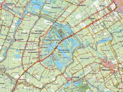 In het ZW van de gemeente Weststellingwerf ligt het streekje de Westhoek, met daarin de dorpen Langelille, Munnekeburen, Nijetrijne, Scherpenzeel, Slijkenburg en Spanga. (© www.kadaster.nl)