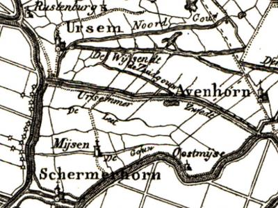 Tot begin 19e eeuw staat de huidige buurtschap Westmijzen, NO van Schermerhorn, nog als Mijsen op de kaarten. Rond 1840 wordt dat West-Mijzen, en vanaf ca. 1850 Westmijzen. Overigens staat de kapel er ten onrechte nog op; die is al in 1747 afgebroken...