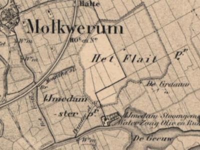 In de jaren vijftig van de 19e eeuw ontstaat ZO van het dorp Molkwerum de buurtschap Ymedam. Op de kaarten wordt erbij vermeld dat hier o.a. sprake is van een stoomgemaal en een zaagmolen, oliemolen en runmolen. (© www.kadaster.nl)