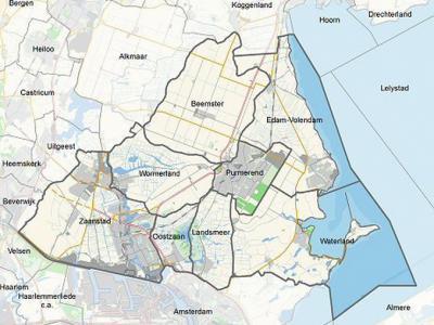 De provincie Noord-Holland heeft de provincie ingedeeld in een aantal regio's. Een daarvan is Zaanstreek-Waterland, die de gemeenten Beemster, Edam-Volendam, Landsmeer, Oostzaan, Purmerend, Waterland, Wormerland en Zaanstad omvat. (© www.noord-holland.nl)
