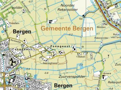 Zanegeest is een buurtschap en tegenwoordig ook woonwijk in de provincie Noord-Holland, in de streek Kennemerland en daarbinnen in de Regio Alkmaar, gemeente Bergen. De buurtschap valt onder het dorp Bergen en ligt direct O daarvan. (© www.kadaster.nl)