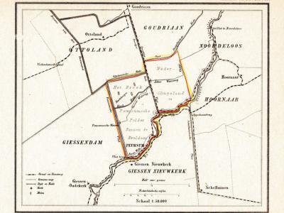 De gemeente Peursum, hier op een kaart van J. Kuijper uit ca. 1870, omvat aanvankelijk alleen de W rechthoek op deze kaart. In 1857 komt ook de O rechthoek = de gemeente Nederslingeland erbij. De grens tussen beide is de Smoutjesvliet en de huidige N216.