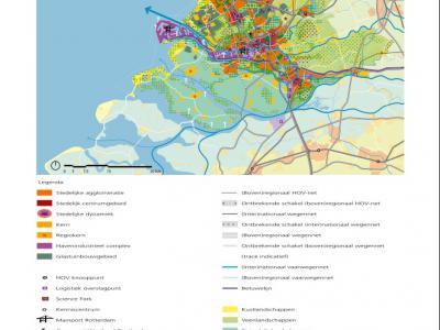 In de Visie Ruimte en Mobiliteit, beschreven in het hoofdstuk Recente ontwikkelingen, heeft de Provincie Zuid-Holland de complexe Ruimtelijke Hoofdstructuur van de provincie overzichtelijk op een A4'tje visueel weergegeven. (© Provincie Zuid-Holland)