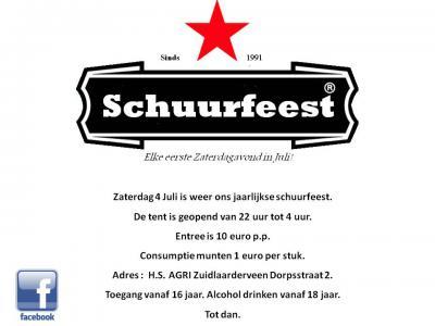 Een van de jaarlijkse evenementen in Zuidlaarderveen is het schuurfeest op de eerste zaterdag van juli